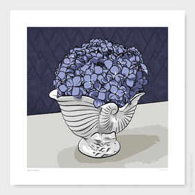 Crowned Hydrangea Crown Lynn Wall Art Print by Anna Mollekin