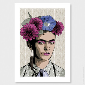 Dahlia Pinnata Wall Art Print by Anna Mollekin - Frida Kahlo Art
